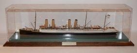 "Kaiser Wilhelm Ship Model, 23""l, Case 27 1/2""l, Wood"
