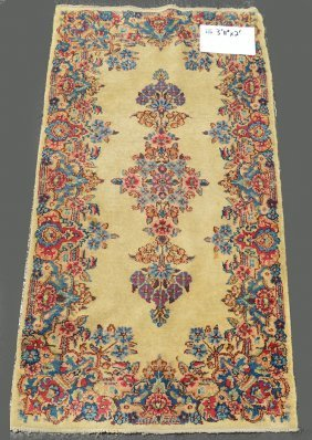Carpet, Persian Cream Field, Blue And Pink, 2' X 3'11""