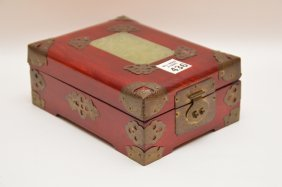 "Oriental Box With Jade And Brass, 3""h X 7""w"