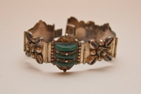 Mexican Sterling Bracelet With Carved Stones