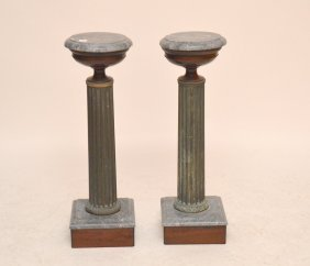 "Pair Marble Top Pedestals Ht. 28"""