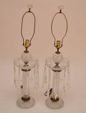 Antique Pair Crystal Girandoles With Prisms,