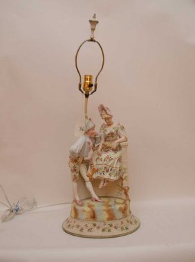 "Porcelain Figural Lamp, Courting Couple, 28""""h"