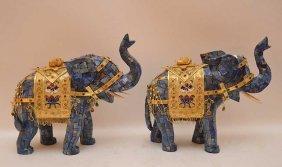 """Pair Blue Lapis Tiled Elephants, 11""""""""h"""