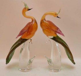 """Pair Murano Birds, 17""""""""h"""