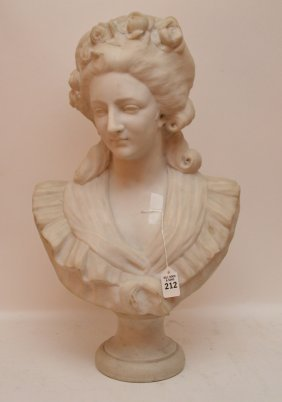 """Victorian Marble Bust Of A Classical Maiden. Ht. 24"""""""""""
