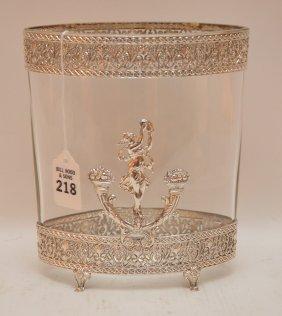 "Silver Overlay Glass Vase. Ht. 8"""""