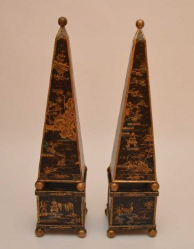 Pair Obelisks With Chinoiserie Decoration. Ht. 35
