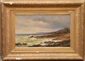 19th Century American School Oil On Panel, Coastal