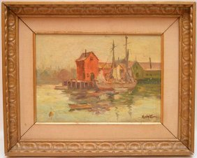 Haley Lever (american 1876 - 1958) Oil On Board, New