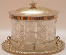 English Nickel Silver Crystal Box