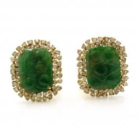 Carved Jade Diamond 14k Gold Earclips