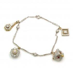 Art Deco Diamond Pearl Ruby Charm Bracelet