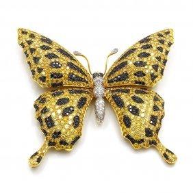 Black, White & Natural Yellow Diamond Brooch