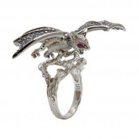 Diamond Ruby 18k Gold Vampire Bat Ring