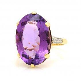 Amethyst Diamond 18k Yellow Gold Platinum Ring