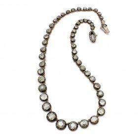 Old Mine Cut Diamond Tennis Necklace