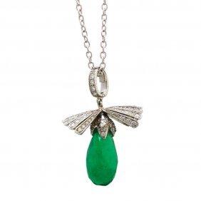 Colombian Emerald Diamond 14k White Gold Necklace