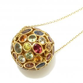Multi Gem 14k Yellow Gold Ball Necklace, Indonesia