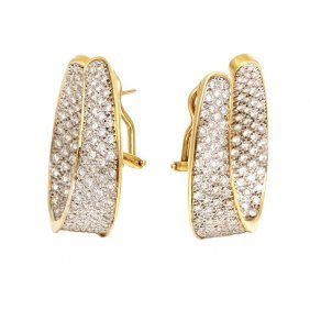 Diamond 18k Yellow Gold Twist Hoop Earrings