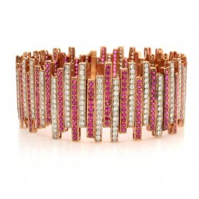 Ruby Diamond 18k Rose Gold Bracelet By Eli Frei