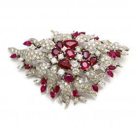 Thai Ruby Diamond 18k White Gold Brooch