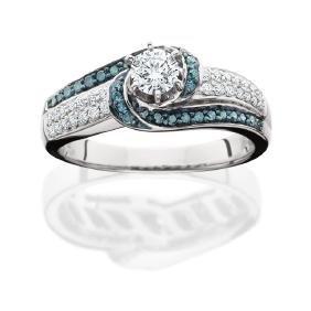 14kt Wg Blue & White Diamond Engagement Ring