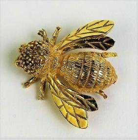 ESTATE 14KT YELLOW GOLD BEE PIN