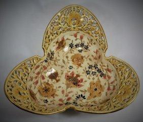 Zsolnay Rare Antique Pecs Porcelain Bowl