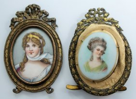 Two Victorian Hand Painted Oval Porcelain Plaques