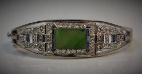 Platinum, Diamond, Sapphire, Jade & Gold Bracelet