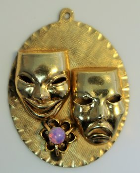 14kt Yellow Gold Pendant With Masks & Opal