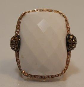 18kt Pink Gold Diamond & Rare White Topaz Ring