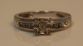 Vintage 10kt White Gold & Diamond Wedding Set