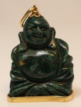 Chinese Vintage 18kt Gold & Jade Buddah Pendant