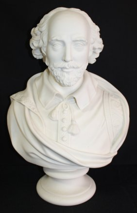 Large 19th Century Parian Bust Of Shakespeare