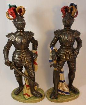 Pair Of Andrea By Sadek Medievil Knight Figurines