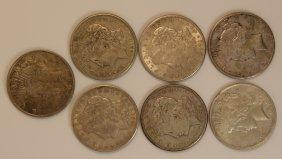 Lot Of (7) U.s Silver Peace Dollars