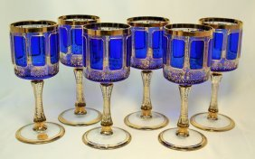 Six Vintage Moser Cobalt Blue Glasses