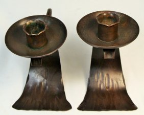 Pair Of Roycroft Arts & Craft Copper Candlesticks