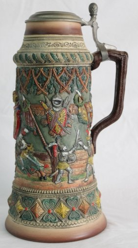 Large German Stein Depicting Classic Tournament