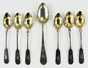 Seven Russian Sterling Silver Spoons