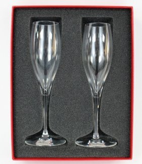 Vinatge Baccarat Crystal Champagne Flutes With Box
