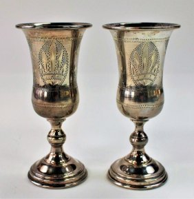Pair Of Sterling Silver Kiddush Cups