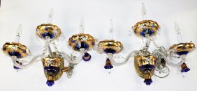 Pair Of Vintage Venetian Blue Glass Wall Sconces