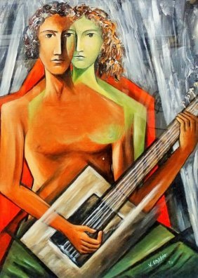 Virgilio Cassio Oil On Canvas Figures W/ Guitar