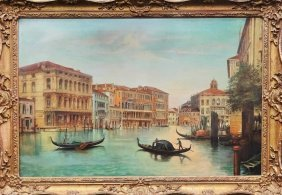 Large Oil Painting On Canvas Venetian Scene