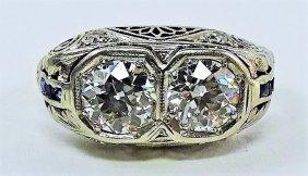 Deco Diamond And Platinum Ladies Ring