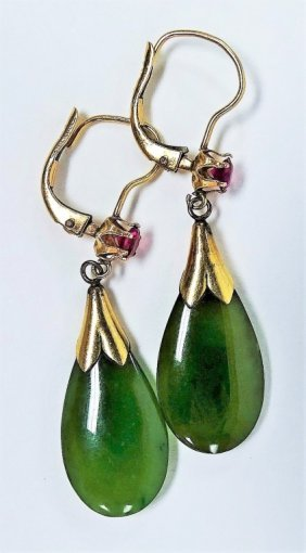 Pair Of 14kt Gold Jade And Ruby Victorian Earrings