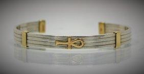 Avedon 14kt Gold & Sterling Designer Bangle